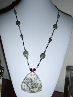 Gemstone necklace serpentine green black silver toggle (O). $12.00, via Etsy, BaileyBeadz
