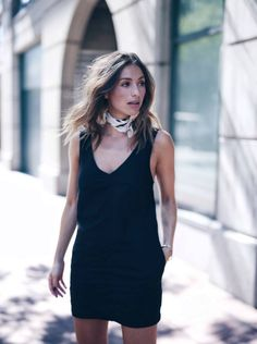 black summer mini dress and neck tie
