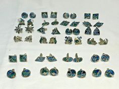 Lot of 24 Vintage Sterling Silver 925 and Turquoise Cufflinks Vintage Cufflinks, Round Design, Photo Wall, Turquoise, Sterling Silver, Ebay, Photograph, Green Turquoise