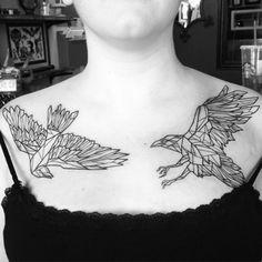 catsgethigh: Polygon Ravens on Jessica! #tattoo #tattrx #tattoocandy #taptoe…