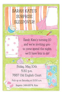 Slumber Party Invitation Sleepover Invitation Slumber Party Invite