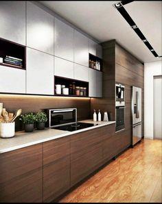 Design Your Kitchen, Kitchen Cabinet Design, Kitchen Layout, Interior Design Kitchen, Interior Modern, Modern Luxury, Interior Ideas, Country Interior, Interior Architecture