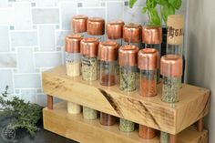 diy spice rack with test tubes butcher block and copper pipe - Refresh Living Test Tube Spice Rack, Diy Spice Rack, Spice Storage, Spice Organization, Kitchen Organization, Organizing Ideas, Storage Shelves, Diy Hacks, Rustic Closet