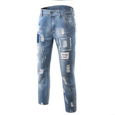 2ffd2cf9908 High Quality New Fashion Hole Design Men s Jeans 2016 Slim Jeans Denim  Pants Washed Jeans for Men Blue Straight Jeans Size 28-36