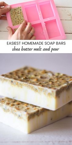 The easiest homemade soap bar recipe using melt and pour soap base. No lye or special equipment needed. Melt and pour soap recipes with shea butter makes the perfect gift! Handmade Soap Recipes, Soap Making Recipes, Handmade Soaps, Making Bar Soap, Diy Soaps, Soap Making Supplies, Homemade Soap Bars, Diy Soap No Lye, Lye Soap