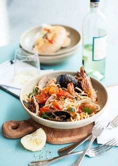 Linguini with seafood