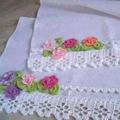 Ideas Embroidery Stitches Flowers Embellishments For 2019 Crochet Blanket Edging, Crochet Edging Patterns, Crochet Borders, Crochet Stitches, Embroidery Stitches, Crochet Home, Crochet Trim, Knitting Projects, Crochet Projects