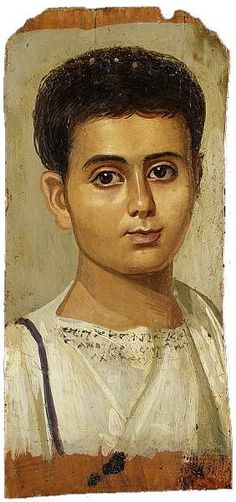 Portrait of the Boy Eutyches:  Egypt, Roman Period: A.D. 100–150  Encaustic on wood, paint Dimensions: h. 38 cm (14 15/16 in); w. 19 cm (7 1/2 in)