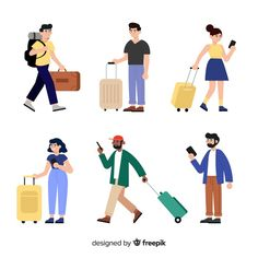 Travelers with suitcase collection Free Vector People Illustration, Flat Illustration, Character Illustration, Illustrations, People Crowd, Why People, Character Concept, Character Design, Family Vector