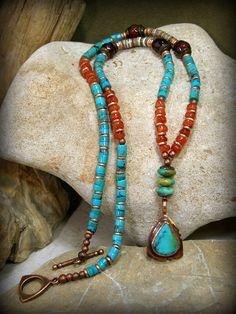Turquoise Necklace, Bohemian Necklace, Tribal Jewelry by StoneWearDesigns