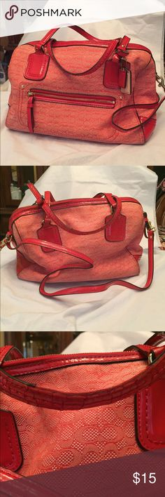 Orange purse Orange purse in fair condition. Extensive cracking on tote straps, please see photos. Purse is clean and comes from smoke free home. Bags Satchels