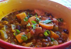 A Li'l Bit of Spice – Rainbow Lentil Stew Brown Lentils, Lentil Stew, Veggie Soup, Bowl Of Soup, Fresh Lime, One Pot Meals, I Foods, Spices, Veggies