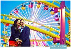 Santa Monica Pier Ferris Wheel Engagement Photography