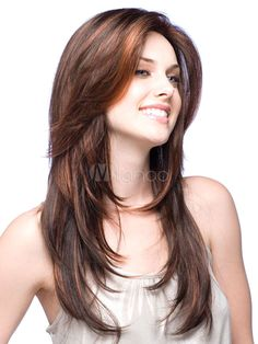Urban Brown Synthetic Straight Long Wig For Woman - Milanoo.com