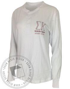 Sigma Kappa Arrow Button Down Henley Long Sleeve by Adam Block Design | Custom Greek Apparel & Sorority Clothes | www.adamblockdesign.com