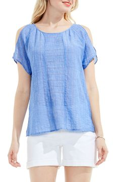 Main Image - Two by Vince Camuto Stripe Gauze Cold Shoulder Top