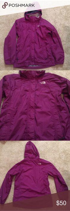 North face Rain Jacket North Face purple rain jacket. Gently used condition. Size is kids large (14), but will easily fit an extra small woman. Color is a beautiful purple. This jacket is great to keep you dry! North Face Jackets & Coats