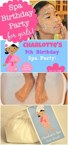 """Fantastic ideas for hosting a Spa birthday party at home! This post includes free printable Spa birthday party invites and thank you notes, ideas for kids """"spa treatments"""" and lots of ideas to make your Spa Birthday Party awesome!"""