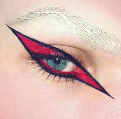 graphic spike eye with red and black, bleached eyebrows