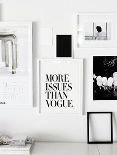 More Issues Than Vogue Typography Print Modern Black and White Art Print Gift for Fashionista Wall Decor Minimalist Bedroom Home Decor