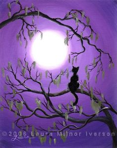 Easy Acrylic Painting On Canvas | ... Cat in Mossy Tree Original Acrylic Painting by Laura Milnor Iverson