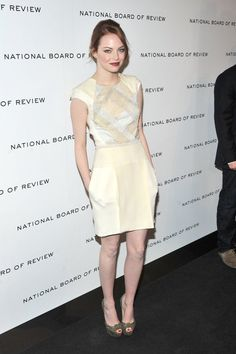 Pin for Later: 79 Big Reasons to Celebrate Emma Stone's Style  For the 2011 National Board of Review Awards, Emma wore a cream-colored J. Mendel dress with Christian Louboutin peep-toe pumps.