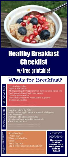 Use this free printable Healthy Breakfast meal planning guide to make mornings easier! Quick breakfast ideas & recipes for grab and go meals, make ahead breakfast ideas and fresh prepped meals perfect for school mornings or family weekends! Healthy Breakfast Menu, Make Ahead Breakfast, Breakfast Ideas, School Breakfast, Free Meal Planner, Meal Planner Printable, Good Healthy Recipes, Healthy Snacks, Healthy Eating