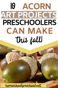 This autumn, add one or more acorn art projects to your preschool lesson plans. Your kids will love creating unique art with objects found in nature. #homeschoolprek #preschoolathome #preschoolart #acornartprojects Preschool Arts And Crafts, Preschool Lesson Plans, Preschool At Home, Preschool Printables, Preschool Classroom, Fun Crafts, Hands On Activities, Educational Activities, Craft Projects For Kids