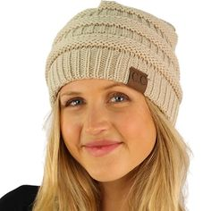 4553afbc8e3 Amazon.com  Unisex Winter Chunky Soft Stretch Cable Knit Slouch Beanie  Skully Ski Hat 2 Pack Gift Set - Beige   Dark Gray + Free Gift  Clothing