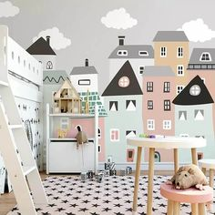 Building mural wallpaper for kids room 5 materials available delite shopping. Playroom Mural, Kids Wall Murals, Murals For Kids, Paintings For Kids Room, Nursery Wall Murals, Room Wall Painting, Kids Room Paint, Room Kids, Cool Kids Rooms