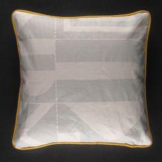 Darkroom  Aztec Screen Print Cushion - Grey/Yellow    www.darkroomlondon.com