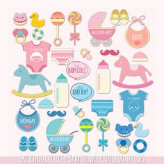 Cute Baby Shower Photo Booth Props Digital Instant by thatProps