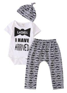5effd92747e9 3 Pcs Newborn Kids Baby Boy Bowtie Outfit Set Infant Babies. Outfits ...