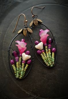 Flowers, Wire Wrapped, Hoops, Blossom Series, Calla Lilies, Artisan Made, Summer, Spring, Glass, Organic, Rustic, Unique, Beaded Earrings by YuccaBloom on Etsy
