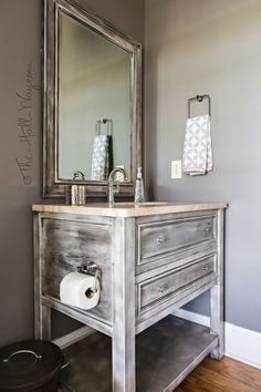 Powder Room Reveal - Behr Suede Gray, Behr Silky White Trim, Stenciled Ceiling in Folk Art Solid Bronze, Diano Reale Marble, American Standard Portsmouth Faucet, Vanity with Black Coffee Metallic Glaze, Crystal & Chrome Chandelier, Ikea Accents