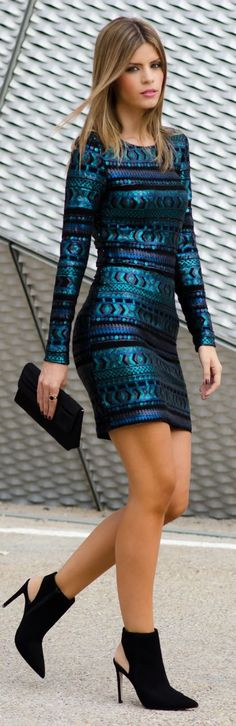 Metallic Teal Patterned Sequin Mini Dress