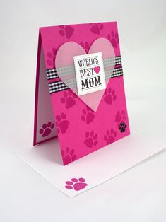 Mothers day card from dog pet mom mothers day from dog to mom handmade worlds best mom mothers day card for dog momcat mom heart mothers day card with paw print dog lovercat lover greeting card m4hsunfo