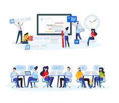 Task Management Flat Vector Illustration Industrial Photography, Online Support, Online Advertising, Business Presentation, Marketing Materials, Flat Design, Vector Graphics, Call Support, Banner