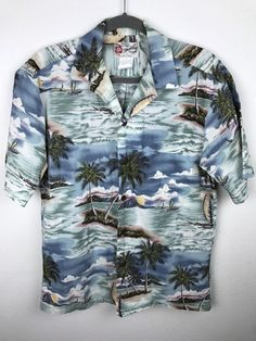 Vintage 1980s Hilo Hattie Hawaiian Shirt Aloha Palm Trees Ocean Boats Size M #HiloHattie #Hawaiian