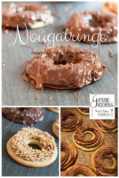 Recipes Snacks Savoury Nougat rings, who doesn& love them? Shortcrust pastry, together with a heavenly nougat cream and coated with chocolate coating. Shortcrust Pastry, Chocolate Coating, Chocolate Brownies, Fall Desserts, Cookies Et Biscuits, Ice Cream Recipes, Pumpkin Spice, Smoothie Recipes, Oreo