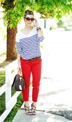 blue and white striped top     with cropped red pants and brown accessories by ...love Maegan, via Flickr