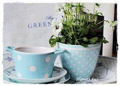 Greengate, Danish Design, spot blue, flowers, musselmalet Bing og Grøndahl, Havets Sus, Denmark