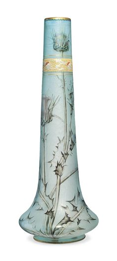 A TALL DAUM CASED AND ENAMELLED GLASS VASE - CIRCA 1895