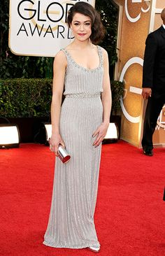 Tatiana Maslany in Jenny Packham at 2014 Golden Globes