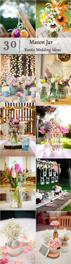 rustic country wedding ideas- mason jar wedding decor ideas / http://www.deerpearlflowers.com/cheap-mason-jar-wedding-ideas/