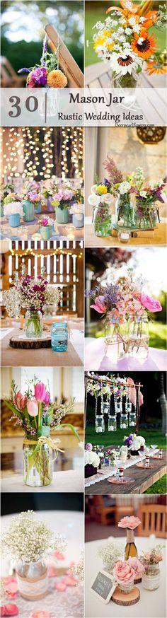 rustic country wedding ideas- mason jar wedding decor ideas / http://www.deerpearlflowers.com/cheap-mason-jar-wedding-ideas/