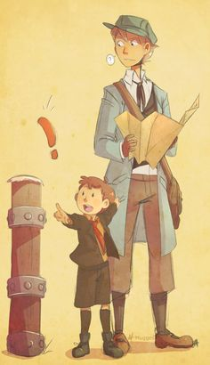 OMG OMG OMG REVERSE PROFESSOR TRITON AND HERSHEY I LOVE THIS FANDOM ________________ why is layton not wearing an itty bitty top hat tho?