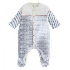 Petit Bateau Babies Stripe Brushed Cotton Babygrow   AlexandAlexa
