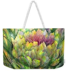 Artichoke in Bloom Weekender Tote Bag by Sabina Von Arx Weekender Tote, Tote Bag, Green Bathroom Decor, Creative Colour, Artichoke, Painting Techniques, Colour Images, Bag Sale, Color Show