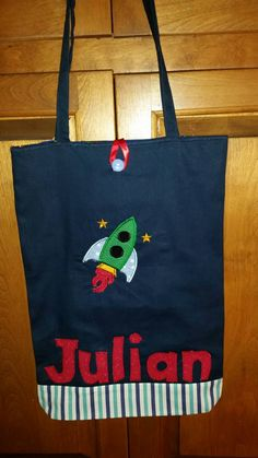 Personalized Space Ship Tote Bag, Rocket Tote, Boy Space Tote, Girl Tote, Canvas Tote Bag Reversible Bag Tote Bag for Kids, Space Birthday